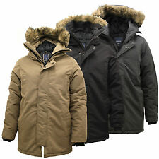 Mens Parka Zip Up Thick Padded Outdoor Fur Hood Long Hooded Coat Jacket Winter