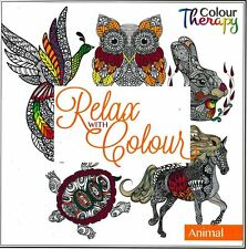 TALLON - ADULT COLOURING BOOK - RELAX WITH COLOUR = FLORAL ,  ANIMAL ,  PATTERN