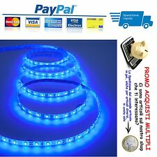 STRISCIA A LUCE LED BLU SMD 5050 STRIP 5 METRI 300 LED IMPERMEABILE