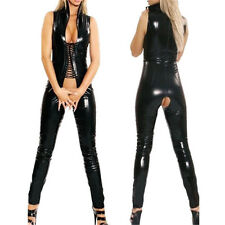 Sexy Wetlook Catsuit PVC Faux Leather Crotchless Bodysuit Womens Black Jumpsuit