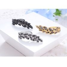 Bague Pas Cher Pour Femme Fille Ring Feuille Strass Mode Fashion Tendance Chic