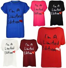 New Womens Limited Edition Print T-Shirts Tops 16-26
