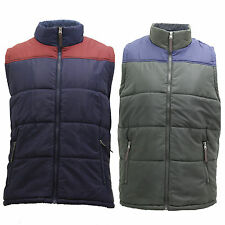 Mens Body Warmer Gilet Faux Fur Lined Warm Padded Sleeveless Two Tone Jacket