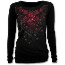 'BLOOD ROSE' Longsleeve Baggy Top - emo gothic blood drops vines roses *SPIRAL*