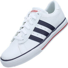 adidas neo leather white red