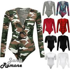 New Womens Long Sleeve Print Wrap Over Bodysuit V Neck Ladies Leotard Plunge Top