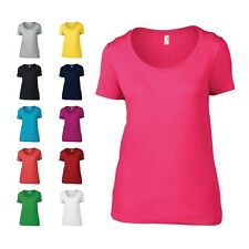 Anvil Womens Ladies Semi Fitted Sheer Scoop Neck Plain T Shirt Top 11 Colours