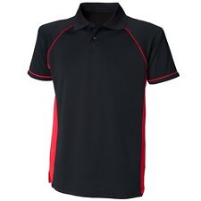 Mens Contrast Sports Performance Coolplus Wicking Breathable Polo Shirt T Top