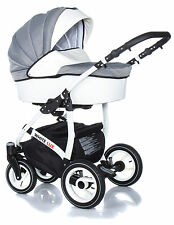 Baby Pram Stroller Buggy Pushchair White lux travel system 3in1 swivel wheels