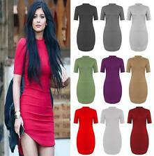 Womens Ladies Celeb Inspired Bodycon Polo Neck Short Mini Curve Hem Tunic Dress
