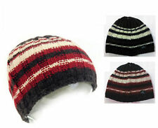 Boys Girls Hat Warm Beanie Wool Blend One Size Red Brown Knitted Winter Cap New