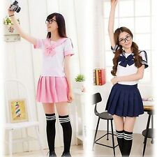Japanese Style School Girl Fancy Dress Cosplay halloween Outfit Uniform Costume