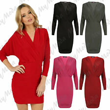 Ladies Women's V Neck Plunge Wrap Over Ruched Stretch Bodycon Mini Dress 8-14