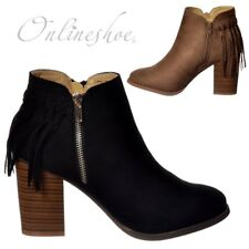 Womens Girls Tassel Fringe Suede Low Cuban Heel Ankle Boot Black Taupe Size New