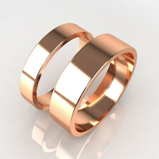 New His and Hers Set of 9ct Rose Gold Wedding Band Rings UK Made FullyHallmarked