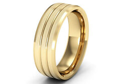 New Patterned Wedding Ring 9ct Yellow Gold  2 Grooves Brushed Matt Finish