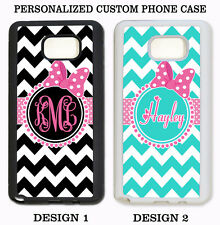 PINK BOW BLACK TEAL CHEVRON CUTE MONOGRAM Case For Samsung Galaxy S7 S6 NOTE 7 5