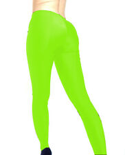 MADAME FANTASY NEON GREEN OPAQUE SPANDEX FOOTED LEGGINGS S M L XL XXL XXXL Tall