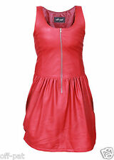 Ladies GENUINE LAMBS LEATHER RED SEXY  DRESS