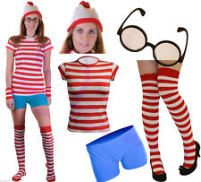 Red & White Ladies Striped T Shirt Hat Christmas Fancy Dress Party Accessories