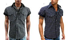 New Men Snap BLACK Striped CHECK Western Cowboy short sleeve Shirt cotton M rock