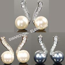 SALE Pearls White or Rose Gold Plated Earrings use Swarovski Crystal Xmas A467
