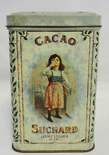 Rare 1900 German Tin Can Litho Suchard Swiss Cacao Chocolate Tin Box French...