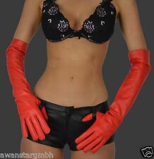 100% Echt Leder Handschuhe Damen Lange Lederhandschuhe,women Long Gloves Red