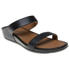 New Womens FitFlop Black Banda Slide Leather Sandals Flip Flops