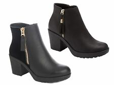 Womens Chelsea Ankle Boots With Tassels Faux Leather Chunky Block Heels Ladies