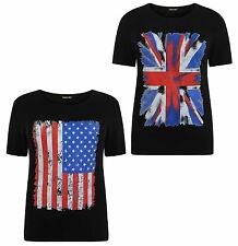 New Womens Plus Size Black American,Union Jack Flag Print Tee Tops 12-26