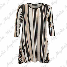 Ladies Women's Brown Stripe 3/4 Sleeve Baggy Hanky Swing Plus Size Dress Top