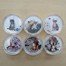 """Dogs & Cats 1oz Silver Proof Coins Fiji 2013""""Stunning Gifts with Circonia Stone"""""""