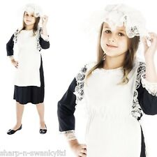 Girls Poor Victorian Peasant Scullery Maid Book Day Fancy Dress Costume Outfit