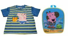 Peppa Pig T-shirt George Celeste a Righe + zainetto