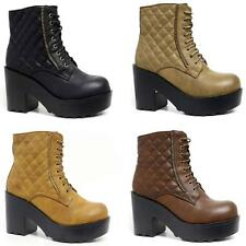 Womens Ladies Chunky Block High Heel Shoes Platform Chelsea Ankle Zip Army Boots