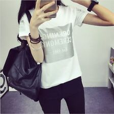 Summer new Korean ladies fashion big yards short sleeve T-shirt student letters