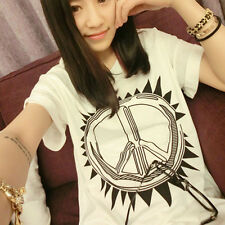 Summer new Korean Women yards round neck letters printed loose short-sleeved