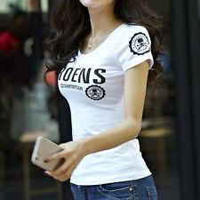 2016 summer new short-sleeved T-shirt Slim female letters printed T-shirt