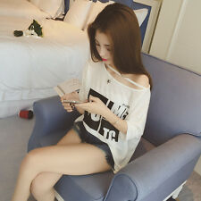 Korean wild letters short-sleeved T-shirt female fat MM bottoming College Wind