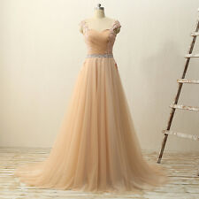 New Long Tulle Cap Sleeve Sweetheart Prom Dresses Formal Party Evening Prom Gown