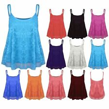 Womens Ladies Plus Size Lace Floral Camisole Cami Strappy Swing Vest Top Flared