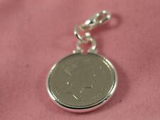 Wedding Anniversary charm bracelet. Genuine polished coin from your Wedding year