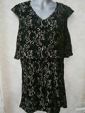 DOROTHY PERKINS MAYA DELUXE DOUBLE LAYER PLAYSUIT BLACK / GOLD LACE (360) SALE
