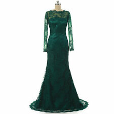 Elegant Dark Green Sleeve Lace Prom Dresses Long Formal Party Evening Prom Gowns
