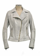 GIACCA GIUBBINO CHIODO PELLE BIANCO DONNA WOMAN WHITE REAL LEATHER JACKET