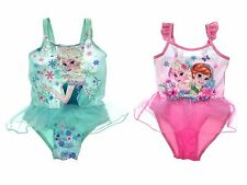 Girls Disney Frozen Elsa Anna Swimming Costume With Skirt Swim Dress Kids Size