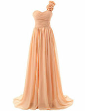 One Shoulder Flowers Formal Prom Party Bridesmaid Dresses Gown Chiffon Evening
