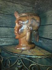 African Woman Carved Ebony Wood Art Statue Sculpture Bust Tribal Folk decor