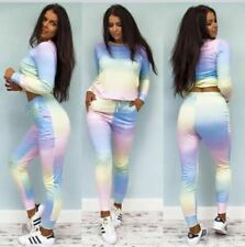 Womens Tracksuit Ladies Rainbow Multicolor Celeb Inspired Loungewear Set Jogers
